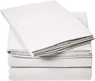 AmazonBasics Everyday Flannel Bed Sheet Set - California King, White