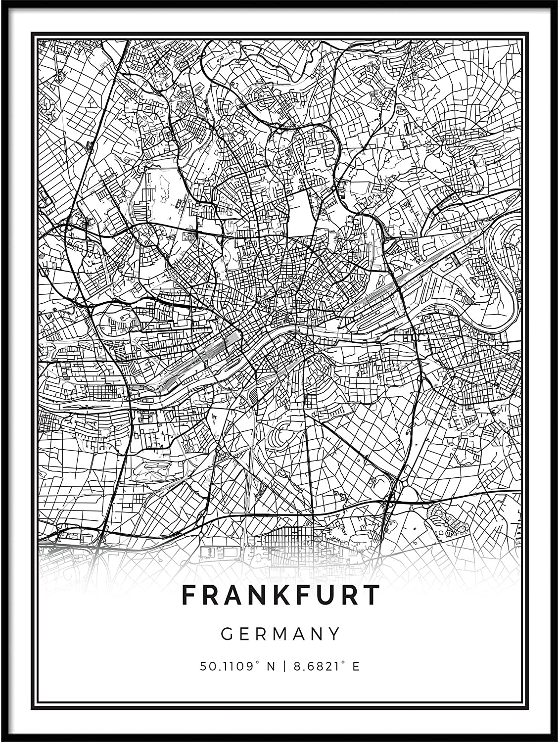 Squareious Frankfurt map Poster Print Ranking TOP17 Black W White Modern and Beauty products