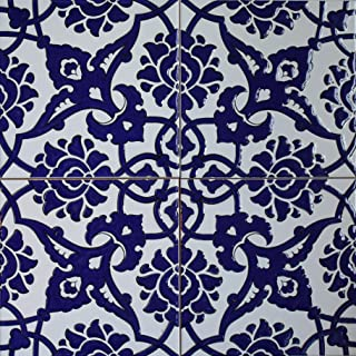 "Turkish Iznik Carnation & Floral Pattern 8"" x 8"" Ceramic Tile (1, Cobalt Blue)"
