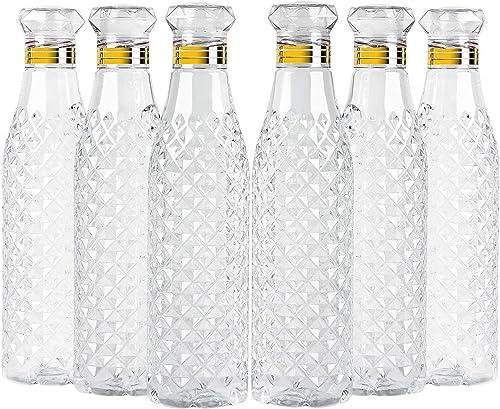 Diablos Water Bottle Set 1 Litre Checkered Fridge Bottle Unbreakable Ideal for Office Sports School Travelling Gym Yoga Pack of 6