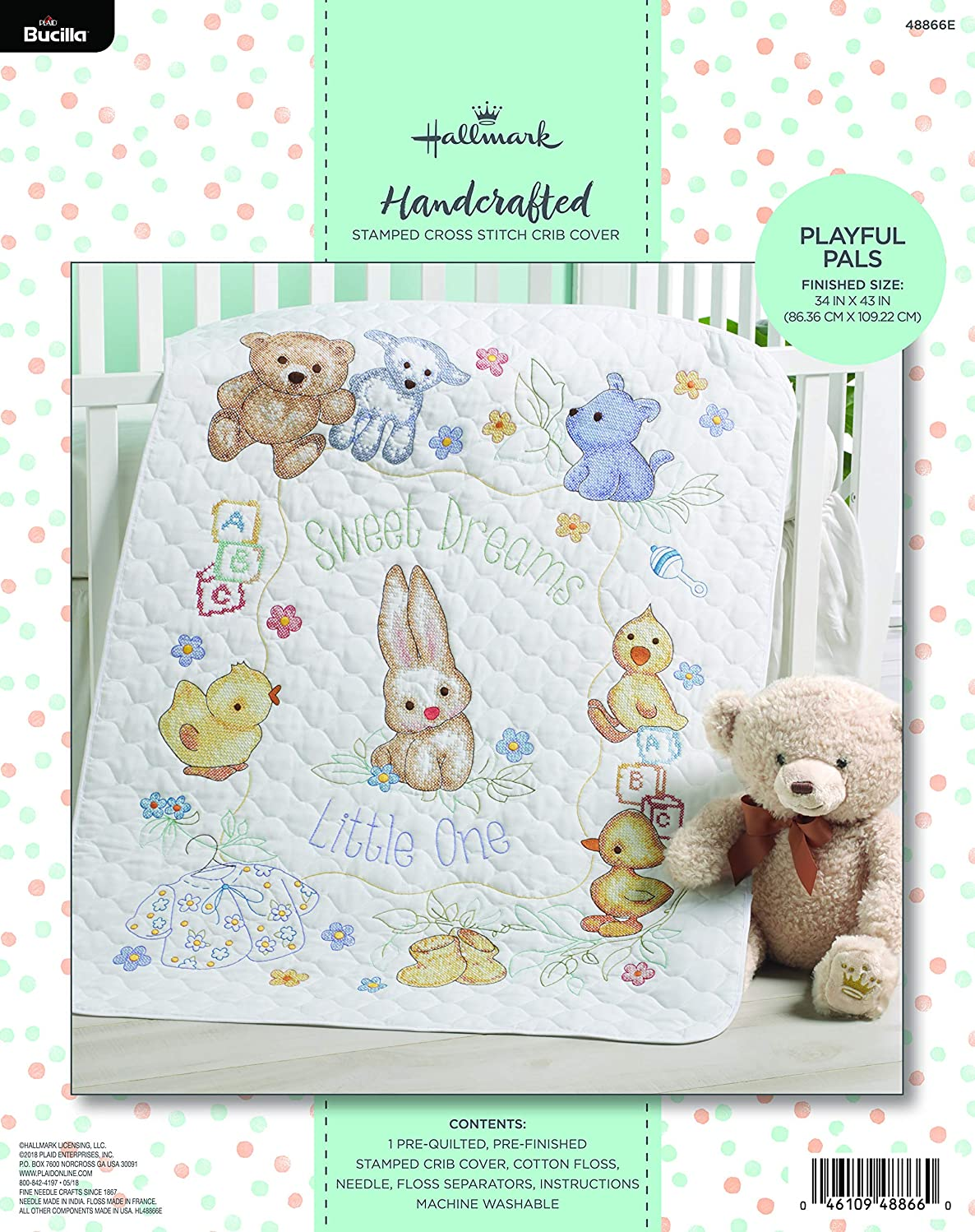 Bucilla Hallmark 48866E Stamped Cross Stitch Baby Crib Cover, Playful Pals