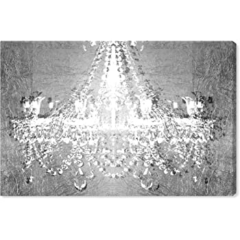 """The Oliver Gal Artist Co. Fashion and Glam Wall Art Canvas Prints 'Dramatic Entrance Chrome' Home Décor, 15"""" x 10"""", Gray, White"""
