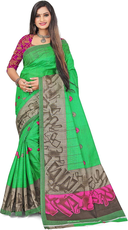 Venisa Women's Pure Cotton Jacquard Saree Indian Ethnic Wear (Off White)