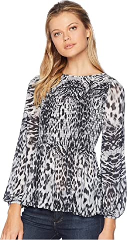 Animal Print Smocked Top