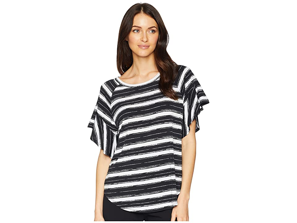 Karen Kane Ruffle Sleeve Top (Stripe) Women