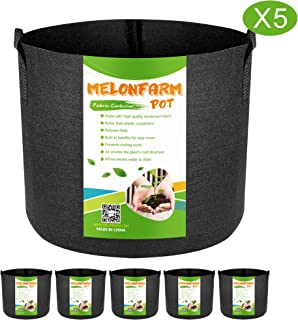 MELONFARM 5-Pack 5 Gallon Plant Grow Bags - Smart Thickened Non-Woven Aeration Fabric Pots Container with Strap Handles for Garden and Planting
