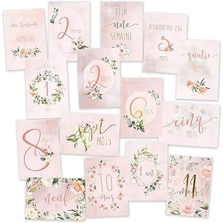 15 Cartes étapes bébé 'ma première année' Rose 2 : de 1 semaine à 1 an