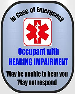 Hearing Impaired Deaf Cochlear Implant Medical Alert Safety Decal Sticker
