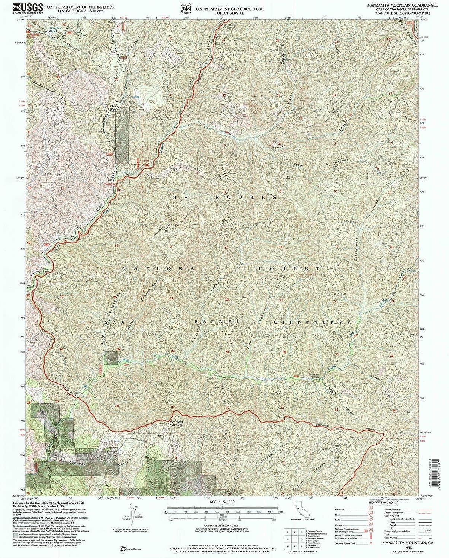 Manzanita Mountain CA topo map, 1 24000 Scale, 7.5 X 7.5 Minute, Historical, 1995, Updated 2000, 26.7 x 21.5 in