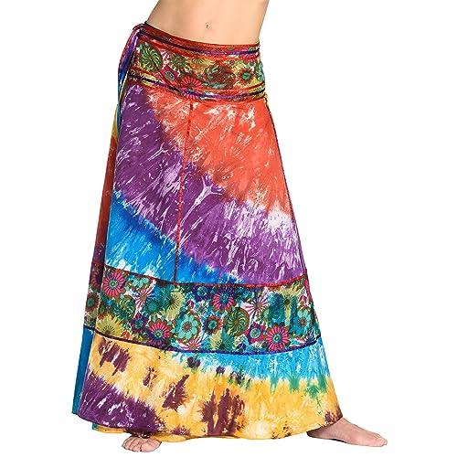 Falda cruzada teñida al batik - falda unisex de la India 92c6e09f1612