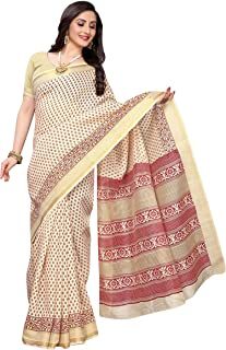 Anni Designer Women's Pure Cotton Printed Saree With Blouse Piece (KAMZI BEIGE_Free Size)