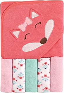 Luvable Friends Unisex Baby Hooded Towel with Five Washcloths, Girl Fox, One Size