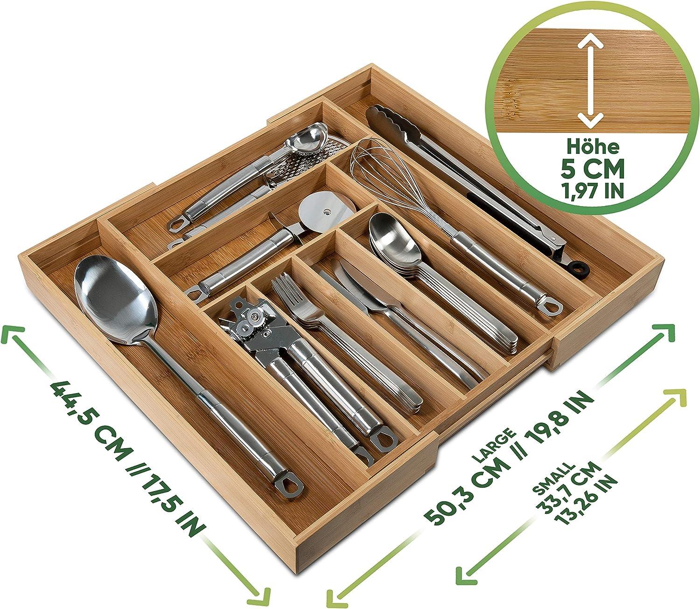 Besteckkasten aus Holz Loco Bird Besteckkasten f/ür Schubladen aus Bambus Schubladeneinsatz f/ür K/üchenschubladen N/ützlicher Besteckeinsatz fur K/üchen Ausziehbar bis zu 9 F/ächern