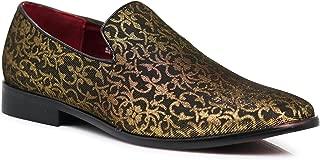 ARK1 Men's Vintage Satin Silky Floral Fashion Dress Loafer Slip On Tuxedo Formal Dress Shoes Designer