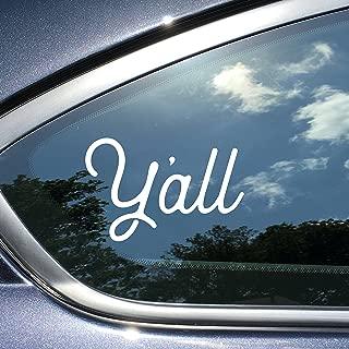Y'all Texas Car Decal 4 x 2.5 Inches White Vinyl Texas Car Sticker