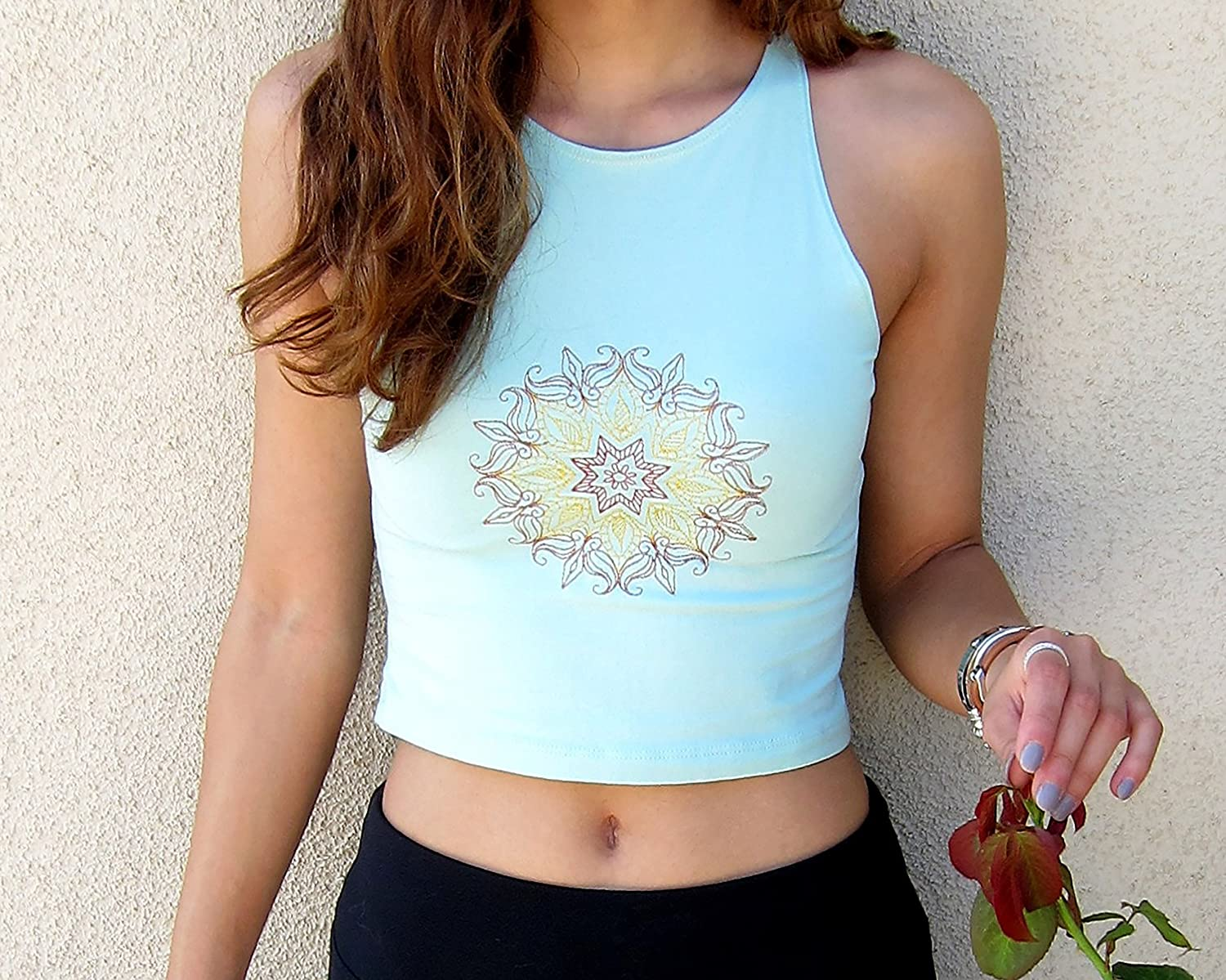 Gifts Mandala Crop Top-Boho Outlet SALE Top-Yoga Top-Embroidered Yoga Cr