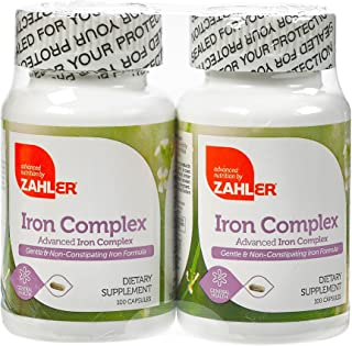 Zahlers Iron Complex, Complete Blood Building Iron Supplement, Iron Pills with Vitamin C, Kosher Certified, 100 Capsules E...