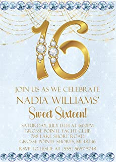 Light Blue & Gold Sweet 16 Birthday Party Invitations With Envelopes, Light Blue Sweet 16 Invitations