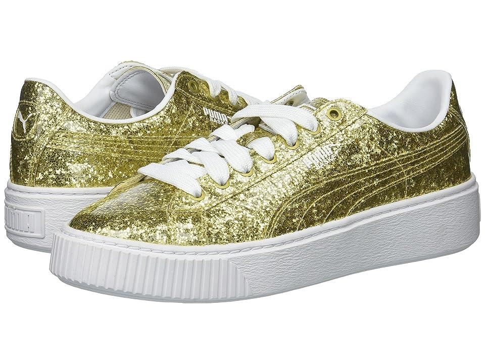 PUMA Basket Platform Glitter (Gold/Gold) Women
