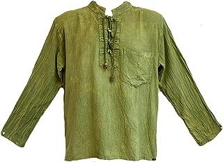 Yak & Yeti Men's Kurta Stone Washed Lightweight Cotton Embroidered Mandarin Style Collar