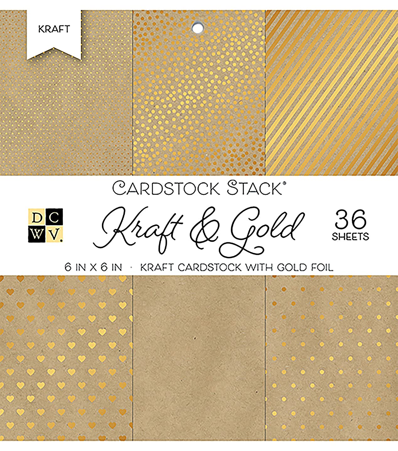 American Crafts 6 x 6 Inch Kraft & Gold 36 Sheets Die Cuts with a View Mat Stacks, 6
