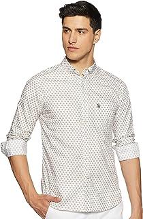 US Polo Association Men's Printed Regular fit Casual Shirt (USSH5724_Beige S)