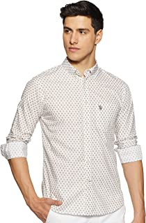 US Polo Association Men's Printed Regular fit Casual Shirt (USSH5724_Beige XL)