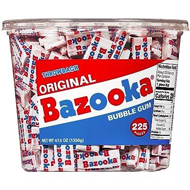 Bazooka - Goma de burbujas envuelta individualmente, sabor, caramelo retro nostalgia, tina, original, 225 unidades
