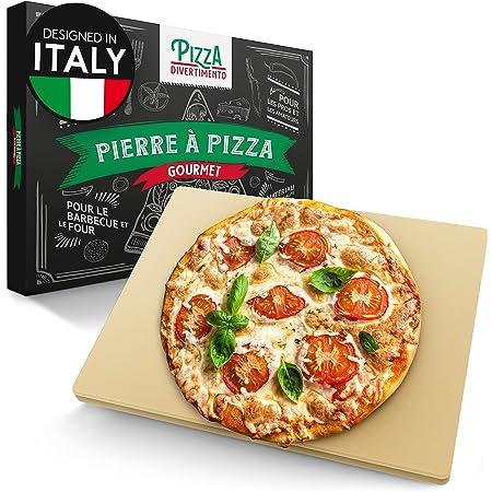 Pizza Divertimento Pierre à pizza pour four et grill à gaz - Pierre à pizza en cordiérite - Pour une base croustillante et une garniture juteuse