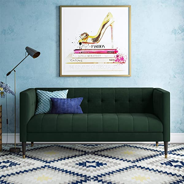 CosmoLiving Neptune Classic Chesterfield Couch Upholstered In Green Velvet Fabric With Solid Wood Legs