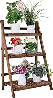 RHF Extra Wide Plant Stand,Indoor Flower Pot Stand,Foldable Ladder Shelf,Flower Pot Ladder, A Framed Display Shelf,Free Standing, Patio Rustic Wood Stand with Shelves,3 Tier Stand, Outdoor,Pot Rack