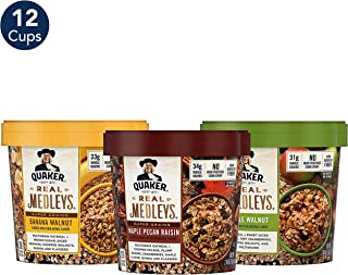 Quaker Real Medleys Instant Oatmeal, 3 Flavor Supergrains Variety Pack (12 Cups)
