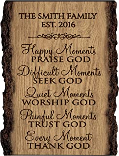 LifeSong Milestones Personalized Custom Family Name Sign Engraved with Family Name and EST. Date House Warming Gift (Happy Moments)