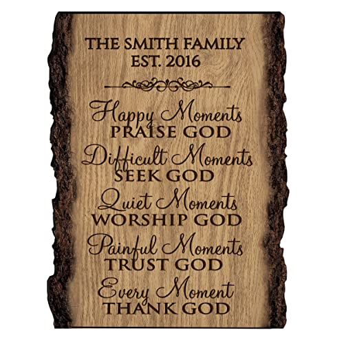 LifeSong Milestones Personalized Custom Family Name Sign Engraved with Family Name and EST. Date House