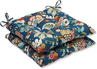 Pillow Perfect Outdoor Telfair Wrought Iron Seat Cushion, Peacock, Set of 2