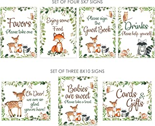 Set of 7 Woodland Baby shower signs, 5x7 and 8x10, woodland food, drinks, favors, welcome and guest book signs