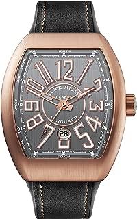 Franck Muller Vanguard Mens 18K Rose-Gold Case Grey Face Automatic Date Grey Rubber Strap Swiss Watch V 45 SC DT 5N BR TT