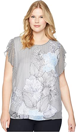 Vince Camuto Specialty Size Plus Size Flutter Sleeve Etched Island Floral Blouse