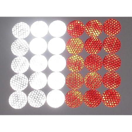 30er Set Reflektoren zum Aufkleben//Reflektor Sticker 15x Rot 15x Wei/ß 30mm Rund