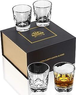 KANARS Whiskey Gläser Set, Bleifrei Kristallgläser, Whisky Glas, Schöne Geschenk Box, 4-teiliges, 230 ml, Hochwertig