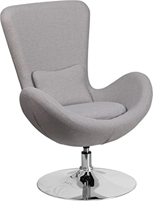 A Line Furniture Curved Wing Design Light Grey Fabric Upholstered Swivel Adjustable Living Room Accent Chair