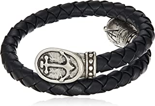 Alex and Ani Men's Braided Leather Wrap Bracelet, Anchor, Rafaelian Silver, Expandable
