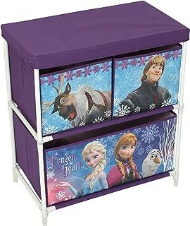 Disney Frozen Kids Toy Unit Tier  Drawer Organiser 30cm Girls Boys Purple Fabric Solution Furniture  Storage Baskets Bins for Playroom  Bedroom Living Room  60x53x30