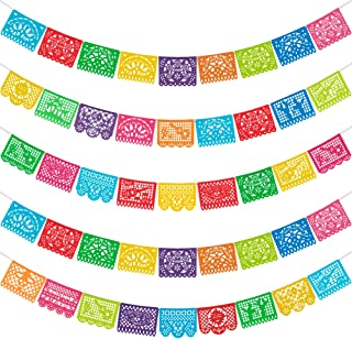 HOOJO 5 Packs Mexican Party Banners, Large Plastic Papel Picado Banner, Cino de Mayo, Fiesta Party Decorations, with 12 Di...