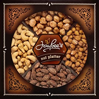 Jaybee's Nuts Gift Tray - Great Holiday, Corporate, Birthday Gift, or as Everyday Healthy Snack - Cashews, Smoked Almonds, Toffee & Honey Roasted Peanuts, Vegetarian Friendly and Kosher