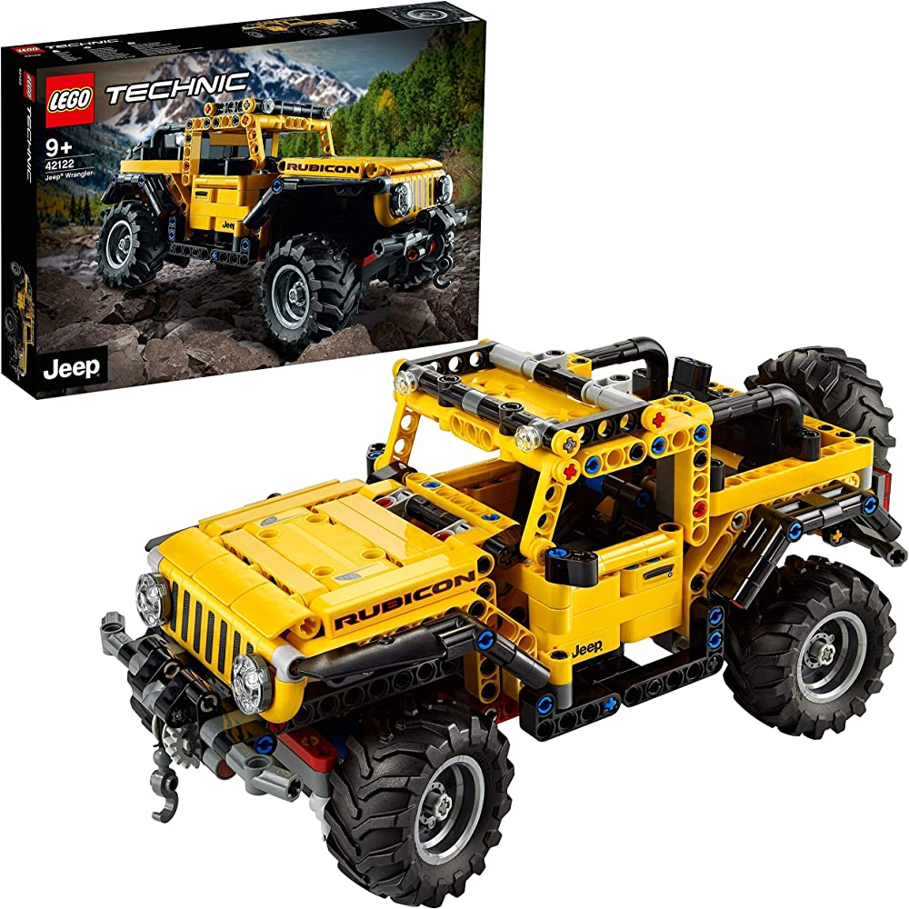 Lego technic, jeep wrangler 4x4, modello fuoristrada suv, giocattolo da costruzione 42122