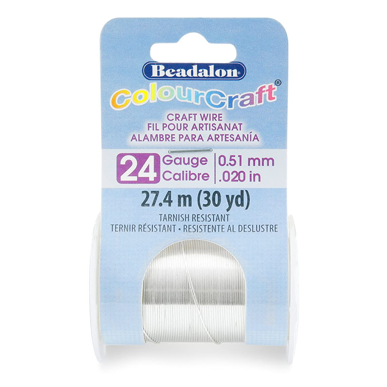Beadalon 185B-024 ColourCraft Wire 24ga Silver,