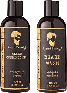 Beard Shampoo and Beard Conditioner Wash & Growth kit for Men Care - Softener & Moisturizer for Hydratin, Cleansing Beard & Mustache Facial Hair - Mens Stocking Stuffers Gift Set (100ml / 3.4 fl oz)