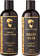 Beard Shampoo and Beard Conditioner Wash & Growth kit for Men Care - Softener & Moisturizer for Hydrating, Cleansing and Refreshing Beard and Mustache Facial Hair Gift Set (100ml / 3.4 fl oz)