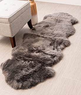 Genuine Sheepskin Rug Two Pelt Gray Fur, Double